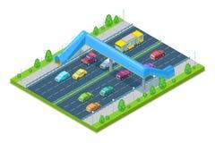 Шоссе и мост crosswalk для людей над дорогой Иллюстрация 3D вектора равновеликая Мост безопасности иллюстрация вектора