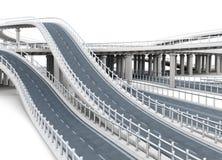Шоссе моста на белой предпосылке перевод 3d Стоковая Фотография RF