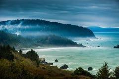 Шоссе 101 дождливого дня побережья Калифорнии Стоковое Фото
