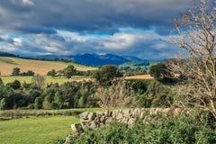 Шотландия над сухими полями и горами каменных стен Стоковое Фото