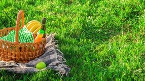 Шотландка для пикника на траве Стоковое Изображение RF