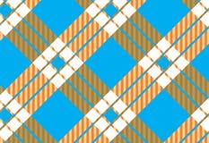 Шотландка тартана, небесно-голубого, белых и оранжевых картины также вектор иллюстрации притяжки corel иллюстрация штока