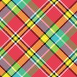 Шотландки проверки цвета Мадраса текстура ткани яркой безшовная Стоковые Изображения