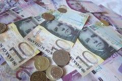 Шотландские примечания и монетки фунта Стоковая Фотография