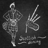 Шотландские танцор и волынки Стоковые Фото