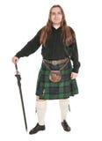 Шотландский человек в традиционном национальном костюме с шпагой Стоковые Изображения RF
