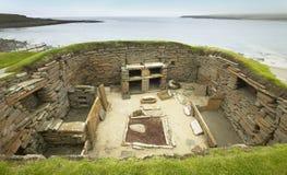 Шотландское доисторическое место в оркнейских островах Brae Skara Шотландия Стоковые Фото