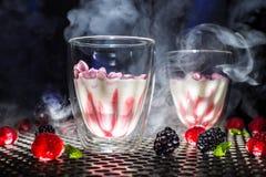 Шоу десерта взгляда низкого угла современное или стекло красных белых коктейля и пара дыма или сухого льда, поленик blackberrys ч стоковые изображения