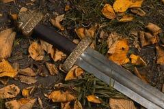 Шпага Викинга против фона листьев осени Стоковое Изображение