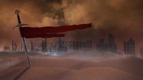 Шпага в пустыне с руинами 4K иллюстрация вектора