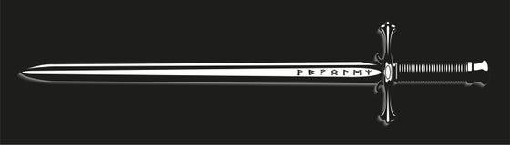 шпага также вектор иллюстрации притяжки corel Черно-белый взгляд Стоковая Фотография RF