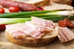 Шпик на хлебе Стоковая Фотография RF
