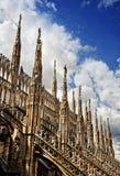 шпили милана собора готские Стоковое Фото