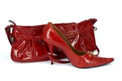 шпильки ботинка сумки красные Стоковые Изображения RF