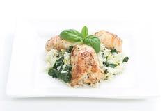 шпинат тарелки цыпленка 2 Стоковое Изображение