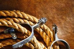 шпоры американского родео lasso ковбоя roping на запад стоковая фотография rf
