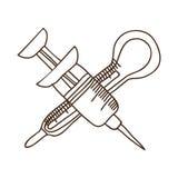 шприц иглы силуэта с термометром Стоковое Изображение RF