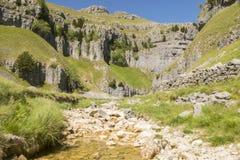 Шрам Gordale, национальный парк участков земли Йоркшира, северный Йоркшир, Великобритания стоковые изображения