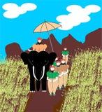 Шриланкийск король одел, путешествующ на слоне иллюстрация вектора