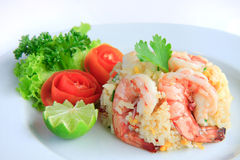 шримс зажаренного риса тайский Стоковые Изображения