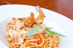 Шримс миндалины спагетти Стоковое Изображение