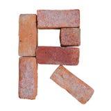 Шрифт алфавита красного кирпича на белой предпосылке изолированной с путем клиппирования Стоковая Фотография