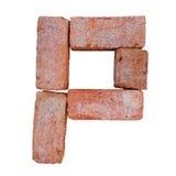 Шрифт алфавита красного кирпича на белой предпосылке изолированной с путем клиппирования Стоковое фото RF