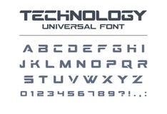 Шрифт вектора технологии всеобщий Геометрический, спорт, футуристический, будущий алфавит techno