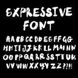 Шрифт вектора щетки нарисованный рукой выразительный Стоковое Фото