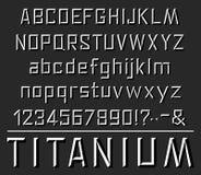Шрифт вектора Titanium помечает буквами алфавит бесплатная иллюстрация