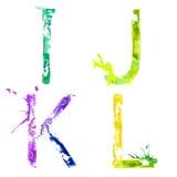 Шрифт выплеска краски вектора i, j, k, l
