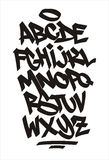 Шрифт граффити вектора алфавит рукописный Стоковое фото RF
