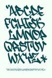 Шрифт граффити - написанная рука - Vector алфавит Стоковое фото RF