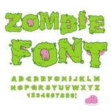 Шрифт зомби Страшные зеленые письма и мозг Ужасный хеллоуин a Стоковое Изображение