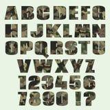 Шрифт и номера камуфлирования Шрифт для рекламировать, график, prin Стоковая Фотография RF