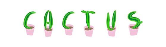 Шрифт кактуса Суккулентное ботаническое письмо Стоковая Фотография RF
