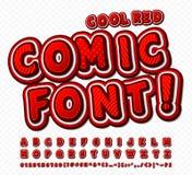 шрифт Красно-белой высокой детали шуточный, алфавит Комиксы, искусство шипучки иллюстрация штока