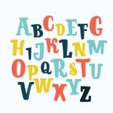 Шрифт литерности вектора уникально, нарисованная рука ABC, дети, смешные, дети Изолированный, установленные письма, алфавит, крас Стоковое Изображение
