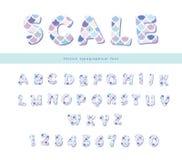 Шрифт масштаба ультрамодный Милый алфавит для поздравительых открыток ко дню рождения русалки, плакатов вектор Стоковые Фотографии RF