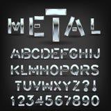 Шрифт металла с тенью на черной предпосылке Символы и письма пальмиры хрома бесплатная иллюстрация