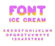 Шрифт мороженого алфавит сладости Жидкостная литерность сладостно иллюстрация вектора