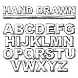Шрифт нарисованный рукой, алфавит вектор Стоковое фото RF