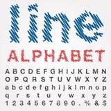 Шрифт нарисованный рукой с линиями doodle Стоковая Фотография RF