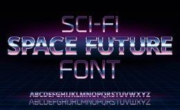 Шрифт научной фантастики ретро иллюстрация штока