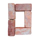 Шрифт номера алфавита красного кирпича на белой предпосылке изолированной с путем клиппирования Стоковое Изображение RF