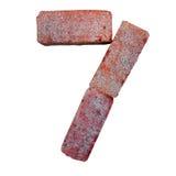 Шрифт номера алфавита красного кирпича на белой предпосылке изолированной с путем клиппирования Стоковые Изображения RF