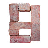 Шрифт номера алфавита красного кирпича на белой предпосылке изолированной с путем клиппирования Стоковое фото RF