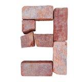 Шрифт номера алфавита красного кирпича на белой предпосылке изолированной с путем клиппирования Стоковая Фотография RF