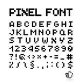 Шрифт пиксела, изолированные письма вектора, алфавит Стоковое фото RF