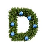 Шрифт письма d характера ABC алфавита рождества с шариком рождества Тип украшения прописных букв ветвей рождественской елки с бесплатная иллюстрация